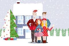 Amigos de uma mulher e de um homem Natal, inverno Fotos de Stock