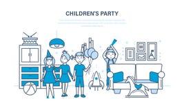 Amigos del partido del ` s de los niños, contra la perspectiva de un cuarto interior Fotografía de archivo