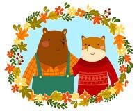 amigos del zorro y del oso Imágenes de archivo libres de regalías