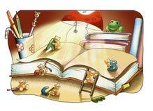 Amigos do livro e do animal Fotos de Stock Royalty Free