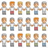 Amigos do teste padrão da arte do pixel Fotografia de Stock Royalty Free