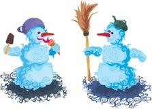 Amigos dos bonecos de neve Imagens de Stock