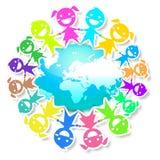 Amigos e terra do planeta ilustração royalty free