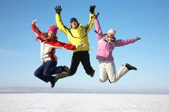 Amigos en centro turístico del invierno imagen de archivo
