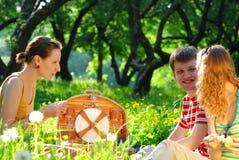 Amigos en comida campestre Fotografía de archivo libre de regalías