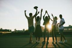 Amigos en el tejado en la puesta del sol Foto de archivo libre de regalías