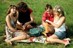 Amigos en la comida campestre Imagenes de archivo