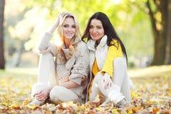 Amigos en parque del otoño Fotos de archivo