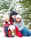 Amigos en un parque del invierno Imágenes de archivo libres de regalías