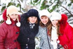 Amigos en un parque del invierno Imagen de archivo libre de regalías