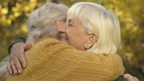 Amigos fêmeas idosos que abraçam a parte externa, irmãs que encontram-se, conexão da família, amor filme