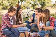 Amigos felices en el parque que tiene comida campestre imágenes de archivo libres de regalías