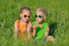 Amigos felices en los vidrios de sol que se divierten en hierba al aire libre Imágenes de archivo libres de regalías
