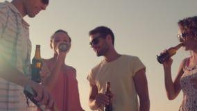 Amigos felices que beben las cervezas en la playa almacen de metraje de vídeo
