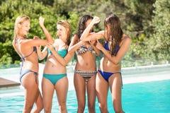 Amigos felices que gozan en la piscina Imagen de archivo libre de regalías