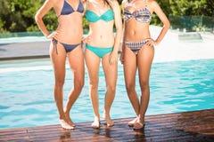 Amigos felices que gozan en la piscina Foto de archivo libre de regalías