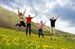 Amigos felices que saltan en prado Fotos de archivo