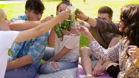 Amigos felices que tintinean bebidas en el parque del verano almacen de video