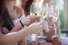 Amigos felices que tuestan el vino foto de archivo