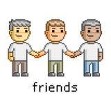 Amigos felizes da arte do pixel Imagem de Stock Royalty Free