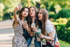 Amigos felizes no parque em um dia ensolarado O retrato do estilo de vida do verão de três mulheres multirraciais aprecia o dia a imagem de stock