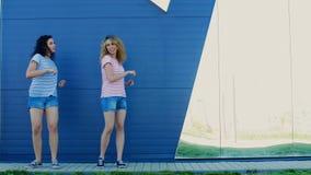 Amigos felizes novos que têm a dança do divertimento no parque do verão video estoque