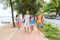Amigos felizes que andam junto no parque perto do grupo de pessoas novo do mar no feriado e na comunicação dos turistas das féria fotografia de stock royalty free