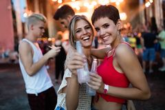 Amigos felizes que têm o divertimento no festival de música Fotos de Stock