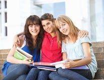 Amigos femeninos adolescentes que se sientan en pasos de progresión de la universidad Foto de archivo libre de regalías