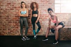 Amigos femeninos de la raza mixta en gimnasio fotos de archivo