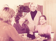 Amigos femeninos en terraza del verano Foto de archivo