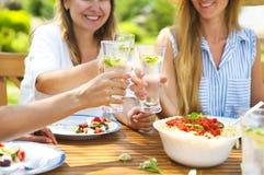 Amigos femeninos felices con los vidrios de limonada en la mesa de comedor adentro imágenes de archivo libres de regalías