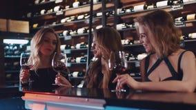 Amigos femeninos hermosos jovenes que tienen una conversación en la barra, con los vidrios de vino rojo Amistad femenina relajado almacen de metraje de vídeo