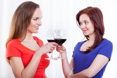 Amigos femeninos hermosos que aumentan los vidrios de vino rojo Imagen de archivo libre de regalías