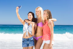 Amigos femeninos jovenes que toman el selfie Imagen de archivo