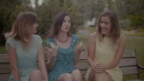 Amigos femeninos preciosos que cotillean en el banco metrajes