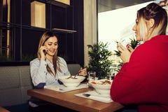 Amigos femeninos que almuerzan Fotografía de archivo