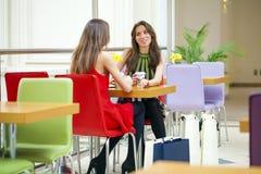 Amigos femeninos que almuerzan junto en la alameda fotografía de archivo libre de regalías