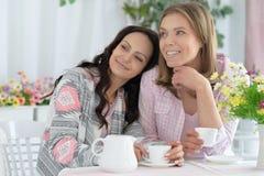 Amigos femeninos sonrientes que beben el café Imagen de archivo
