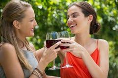 Amigos femeninos sonrientes que tuestan las copas de vino rojas en el restaurante Fotos de archivo libres de regalías