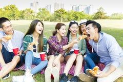 Amigos jovenes felices que disfrutan de comida campestre sana imagen de archivo