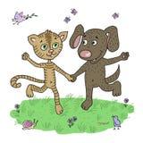 Amigos lindos y divertidos perrito y gatito que corren alrededor del prado ilustración del vector
