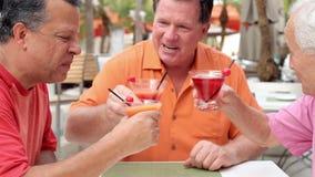 Amigos masculinos mayores que gozan de los cócteles en barra juntos almacen de video