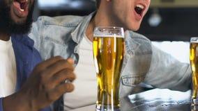 Amigos masculinos multirraciales que miran la raza en la barra, vidrios de cerveza que tintinean, victoria metrajes