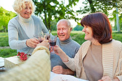 Amigos mayores que animan con el vino en la fiesta de cumpleaños Foto de archivo