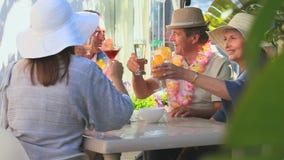Amigos mayores que comen un aperitivo almacen de video