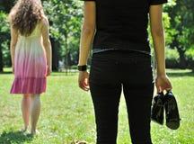 Amigos - mujer ofendida Fotos de archivo