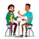 Amigos no vetor do café Homem dois Café bebendo Restaurantes, bar Conceito da ruptura de café lifestyle Uma comunicação ilustração royalty free