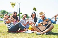Amigos novos felizes que têm o piquenique no parque Estão tudo felizes, tendo o divertimento, sorrindo e jogando a guitarra Imagem de Stock