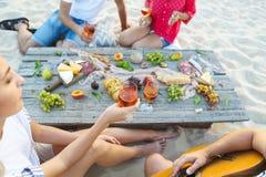 Amigos novos que bebem o vinho cor-de-rosa no piquenique da praia do verão imagens de stock